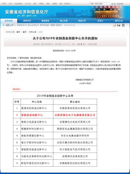 荣事达电子电器集团入选省级制造业创新中心